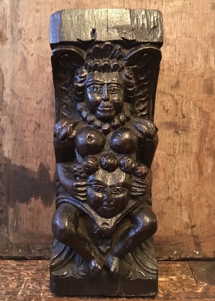 A Rare Elizabethan Carved Oak Fertility Figure Possibly Depicting Queen Eli