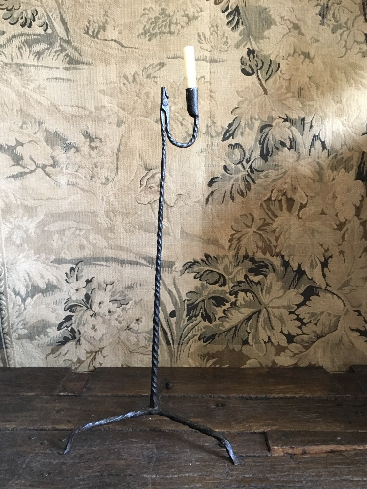 An 18th Century Spiral Twist Floor Standing Rushlight On Triform Base