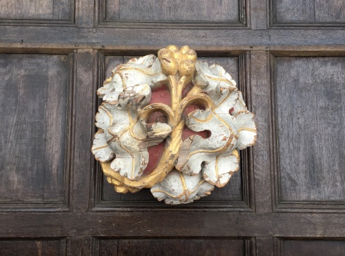 A Rare 15th Century Ecclesiastical Ceiling Boss retaining its original poly