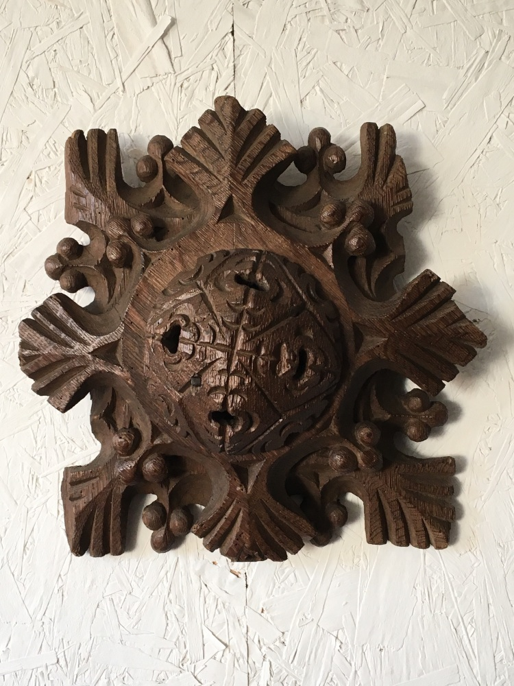 A Rare 15th Century English Carved Oak Roof Boss