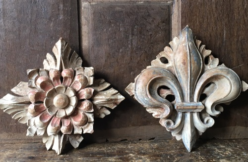 A Rare Pair Of 15th Century Carved Limewood Roof Bosses With Traces Of Poly