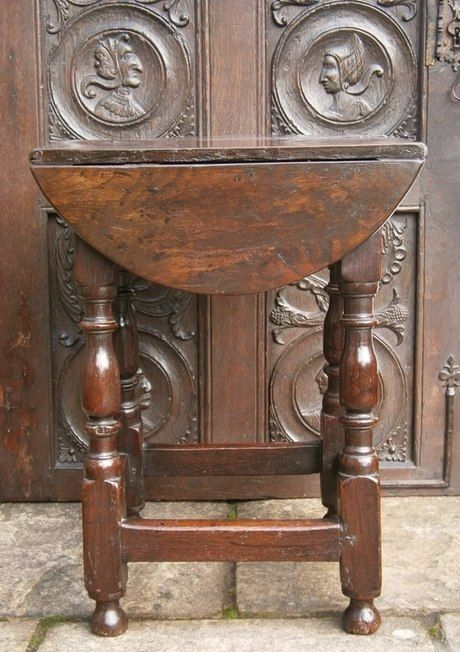 A Rare Charles 1st Oak Drop-Flap Stool circa 1640