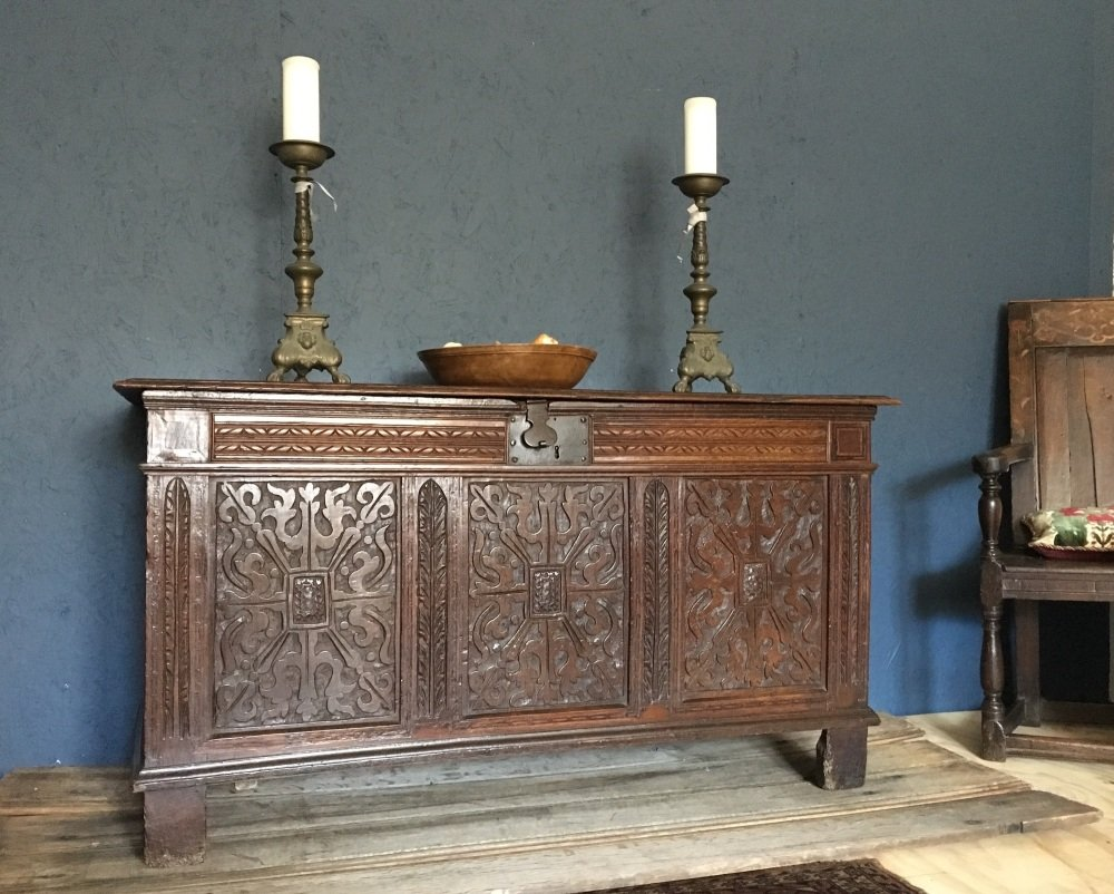Early 17th Century Carved And Inlaid Oak Joined Chest SOLD