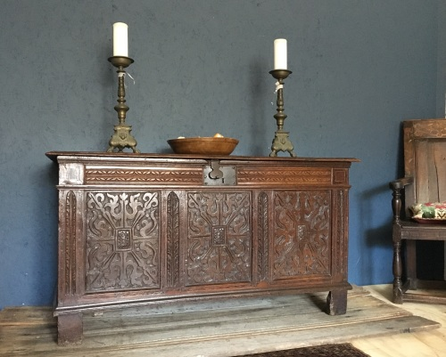 Early 17th Century Carved And Inlaid Oak Joined Chest