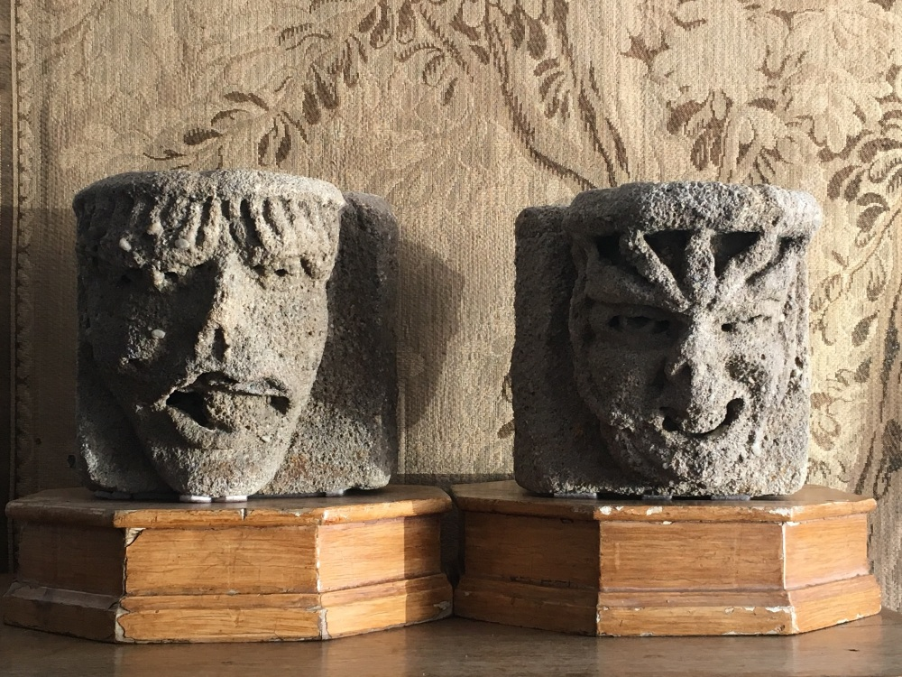 The Selby Abbey Heads ,Two English Medieval stone corbels A Grotesque Male 14th Century.SOLD