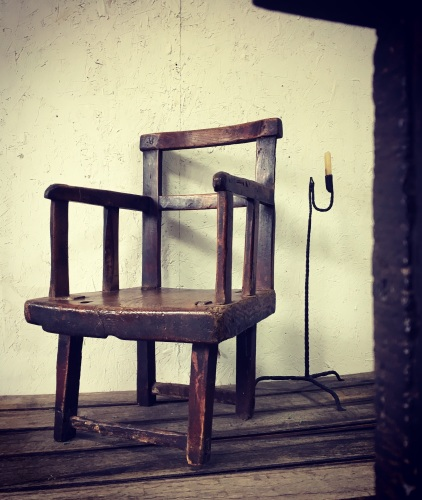 18th Century Irish Primitive Chair With A Huge Slab Seat.