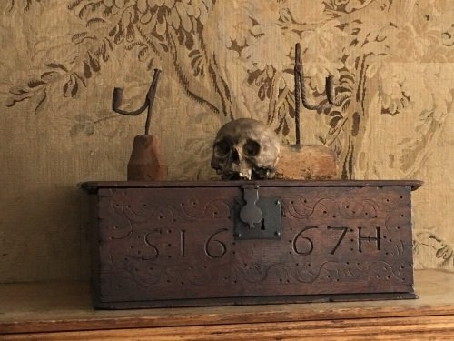 An Original Carved Oak Bible Box Dated 1667 With The Initials S.H