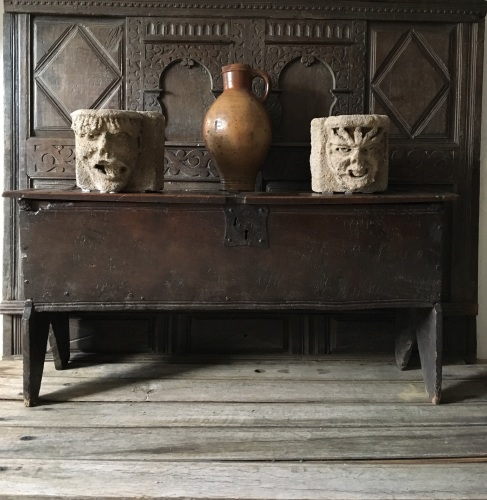A Fine And Rare Henry VIII Period Oak Board Chest .