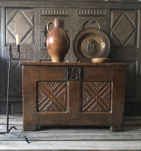 A Rare Late 15th Century Gothic Carved Oak Twin Panelled Chest