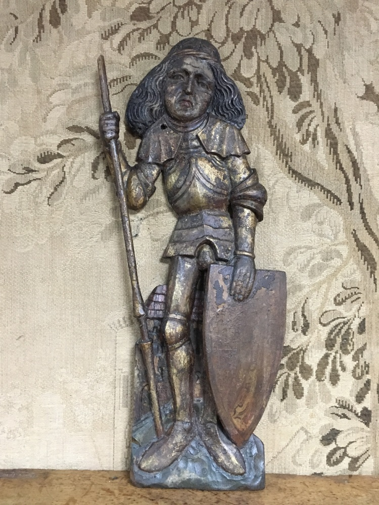A Late 15th Century South German Carving Depicting  St.George With Polychro