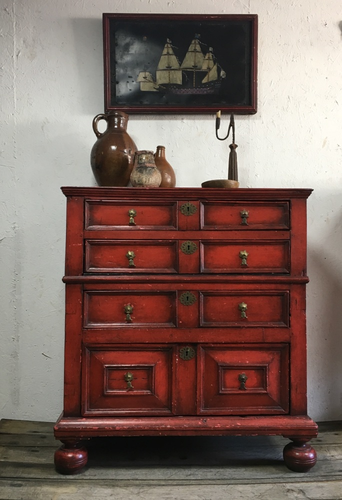 A Decorative 17th Century Oak Chest Of Drawers With Later Raspberry Paint