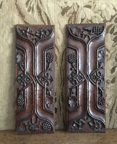 A Pair Of 16th Century Tudor Oak Enriched Parchemin Panels