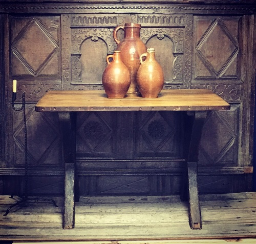 A 19th Century Country Pine Tavern Table With Iron Banded Top .
