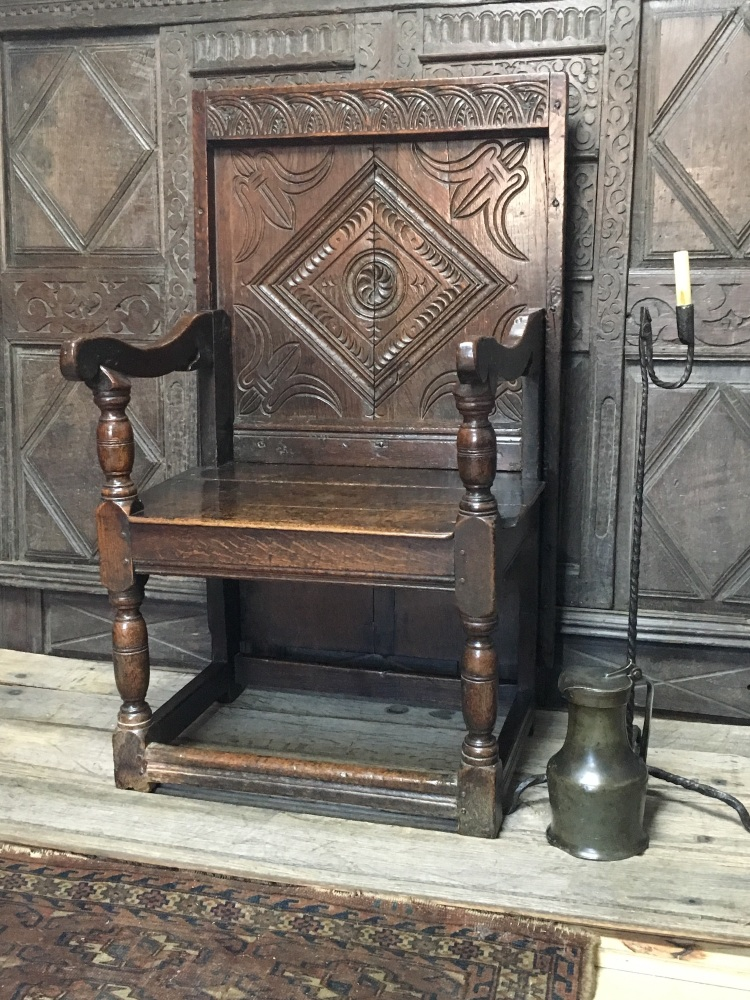 A Rare Charles II Joined Oak Chair-Table Circa 1670