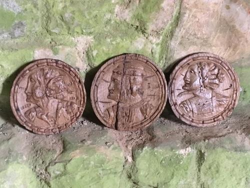 A Set Of Three 16th Century English Carved Oak Romayne Profile Roundels