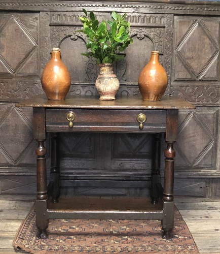 An Early 18th Century Oak Side Table With Single Drawer Ex Hornby Collectio