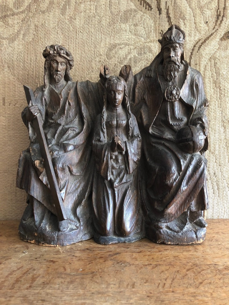 A Rare 15th Century Carved Oak Depiction Of The Coronation Of The Virgin