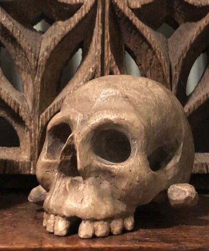 18th Century carved Memento Mori skull