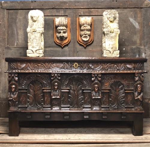 A Rare Elizabethan Carved Oak Coffer Gloucestershire Circa 1580