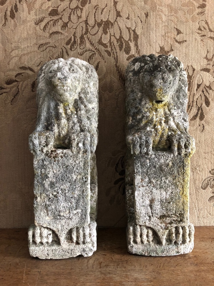 A Pair Of Rare English Carved Stone Lion Sejant Erect
