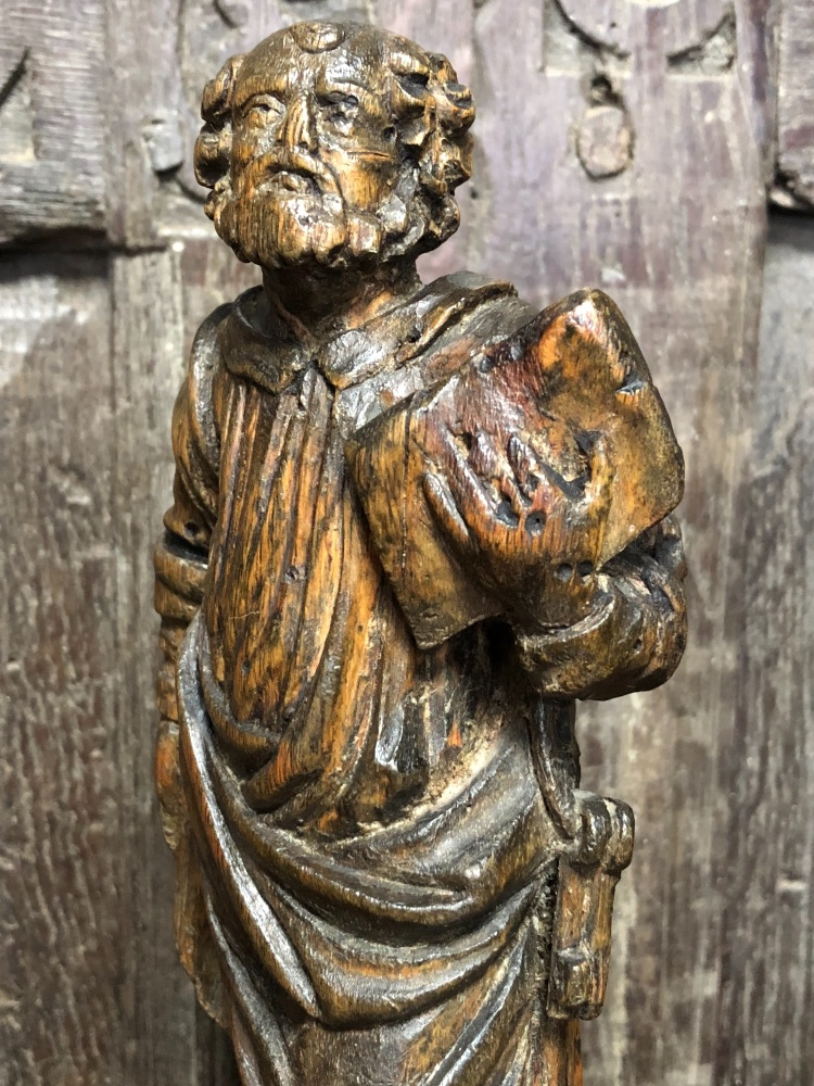 A 17th Century Carved Oak Figure Depicting St.Peter