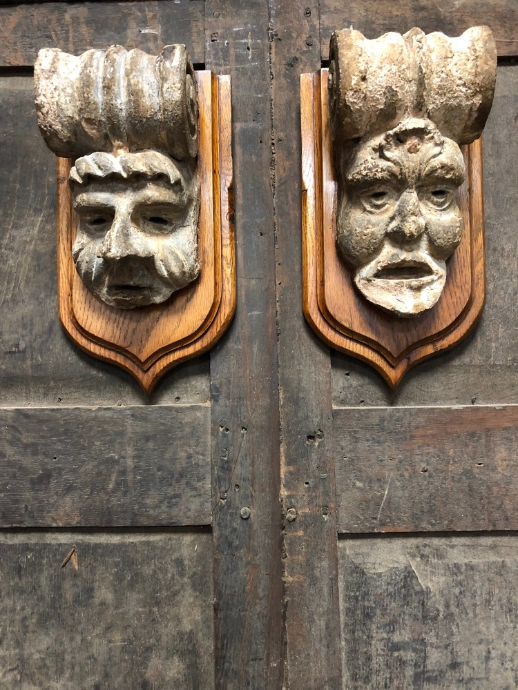 A Pair Of 18th Century Carved Stone Corbel Grotesques Possibly Cornish