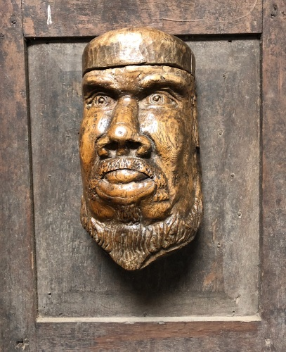 An 18th Century Carved Salt Cellar In The Form Of A Bearded Male Face .
