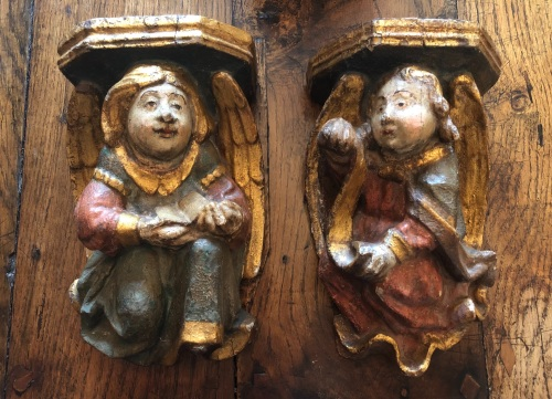 A Wonderful Pair Of 16th Century Polychrome Decorated Angel Corbels