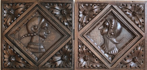 A Pair Of 16th Century English Carved Oak Romayne Panels Circa 1540