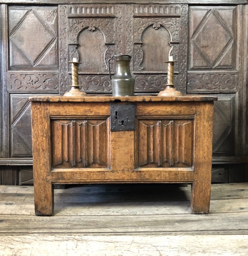 A 16th Century Tudor Oak Linenfold Chest With A Great Country Repair.