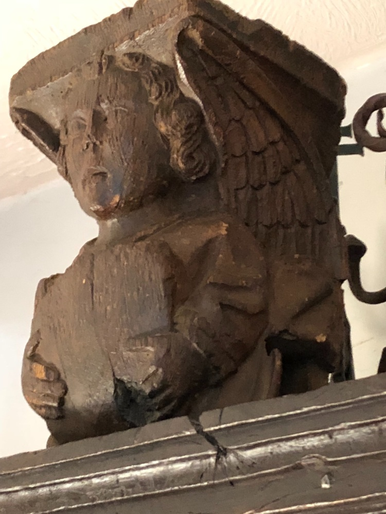 A Rare Medieval Carved Oak Angel Corbel Bearing A Shield SOLD