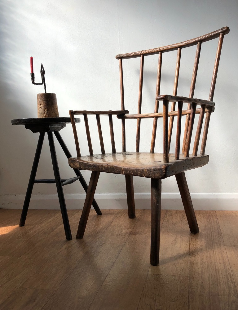 A Very Sculptural 18th Century Ash And Elm Primitive Chair.