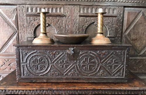 A 17th Century Carved Oak Bible Box Of Narrow Proportions.