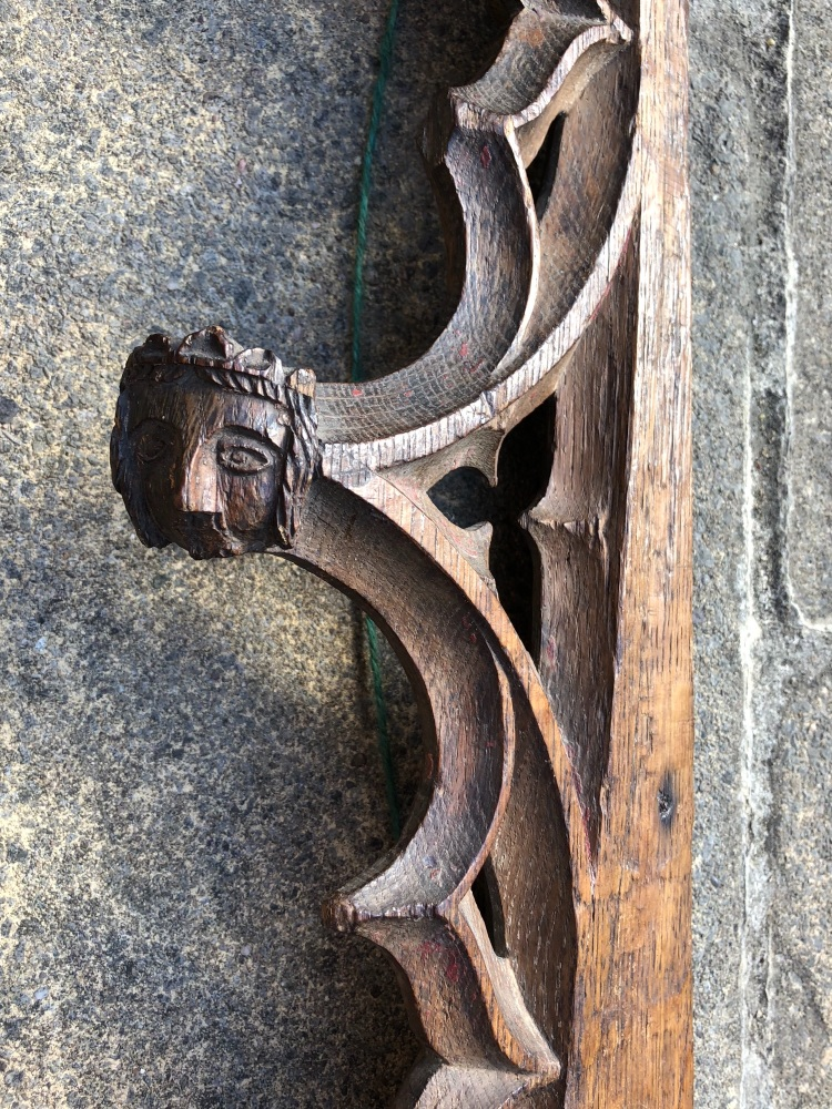 A Rare 15th Century English Gothic Oak Rood Screen Fragment With Three Litt