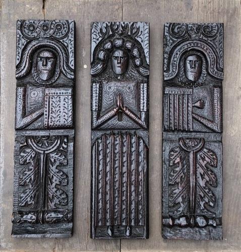 A Wonderful Rare Trio Of Elizabethan Carved Oak Caryatid Figures