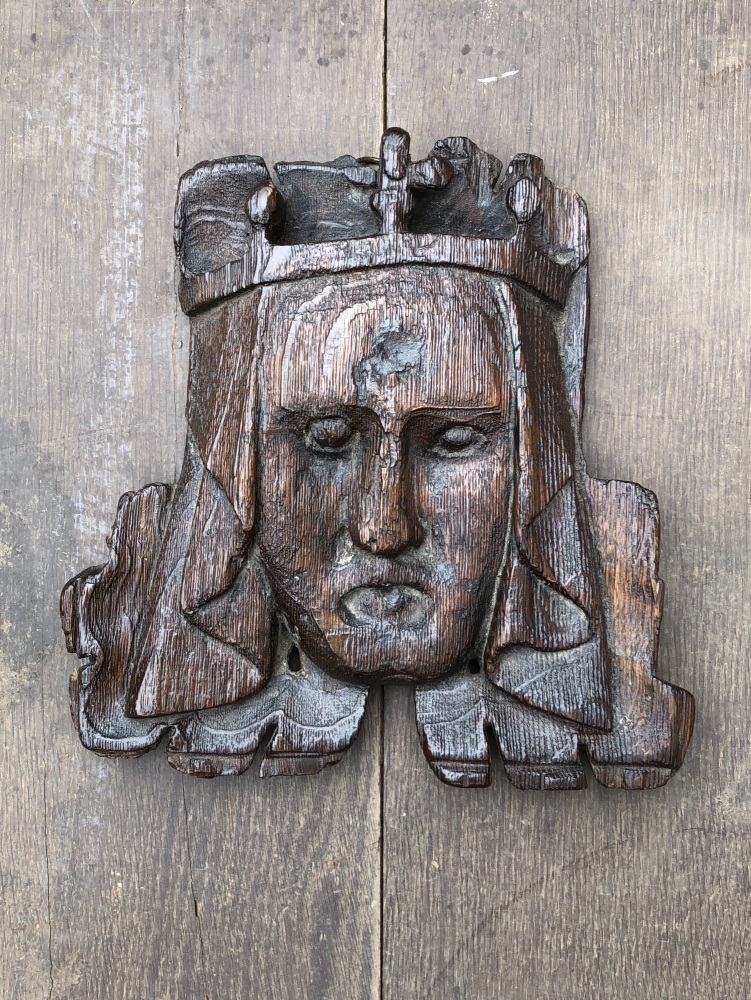 A Rare English Medieval Oak Ceiling Boss Possibly Depicting Princess Joan P