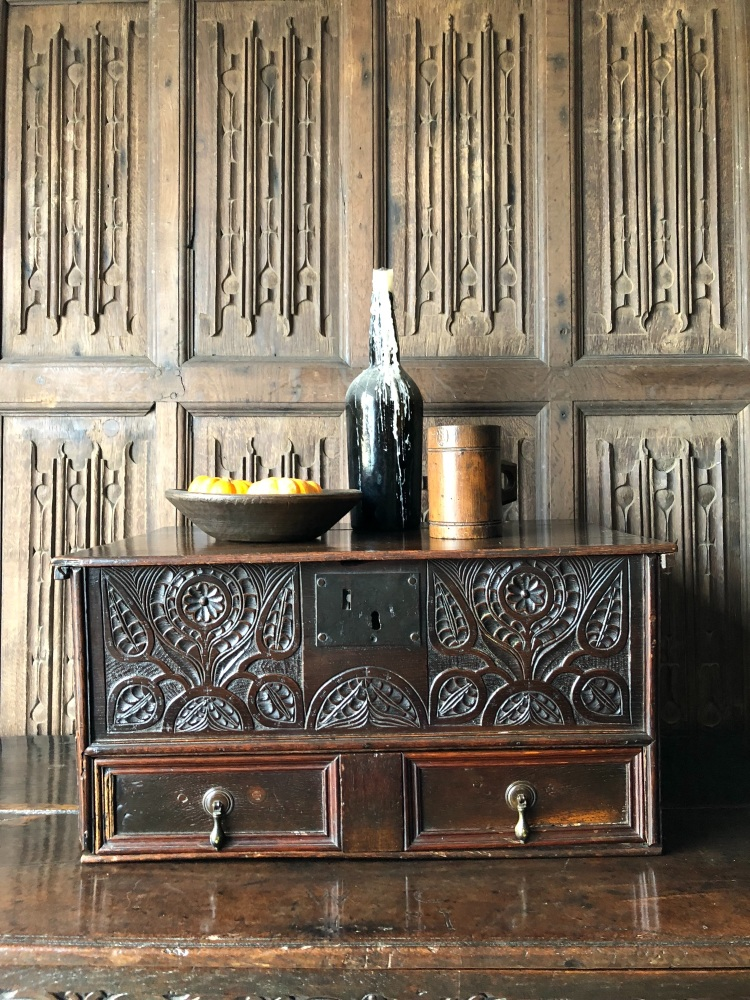 An Impressive 17th Century Carved Oak Bible Box With The Unusual Feature Of