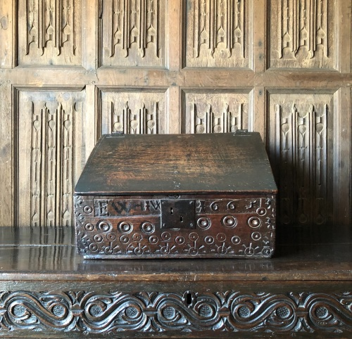 A 17th Century Welsh Oak Desk Box Carved With Bulls Eye Design Dated 1665