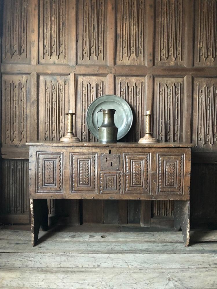 A Rare English Henry VIII Oak Boarded Chest Circa 1520