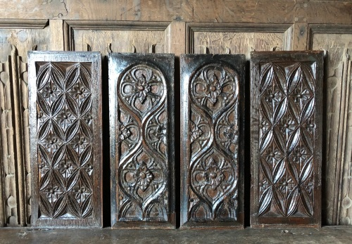 A Set Of Four Late 15th Century Carved Oak Gothic Tracery Panels..