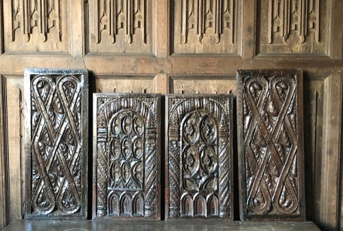 A Wonderful Set Of Four Carved Oak Gothic Tracery Panels Circa 1480-1520