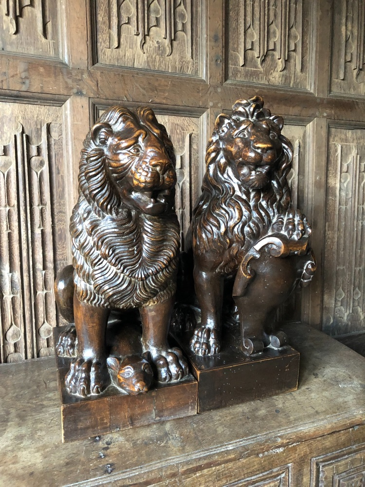 A Magnificent pair of Mid 19th Century Carved Walnut Standing Lions .Circa
