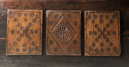 A Set Of Three 17th Century Carved Oak Welsh Panels with Bulls eye design M