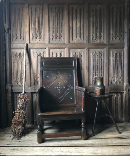 A Rare 17th Century Welsh Oak Enclosed Armchair Carved With Bullseye Design