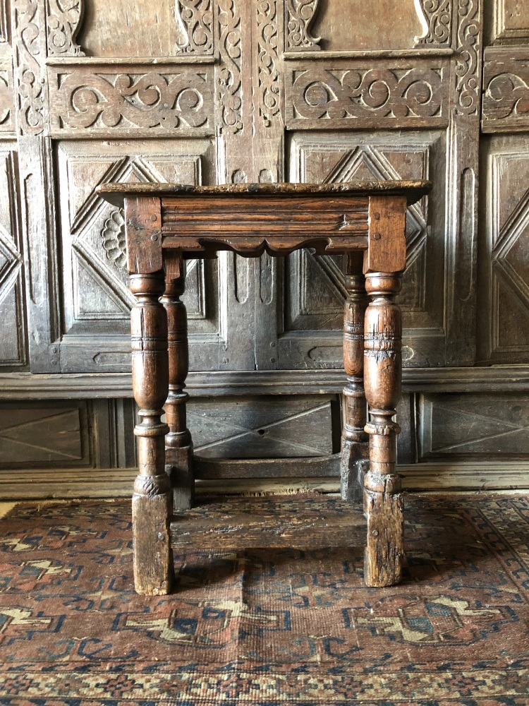 A 17th Century Oak Joint Stool With A Sculptural Stance