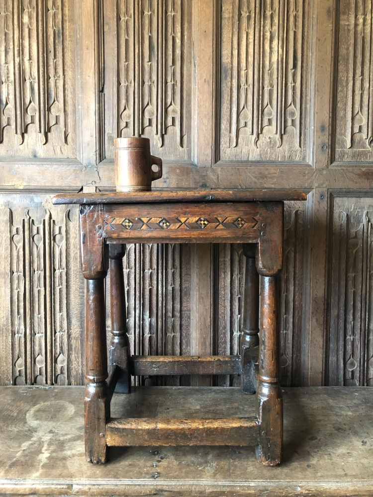 A Rare Late 17th Century Oak Joint Stool With An Inlaid Frieze Rail.