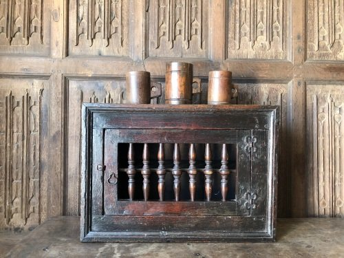 A Wonderful 17th Century  Oak Mural Cupboard with Spindled Door Of Small Pr