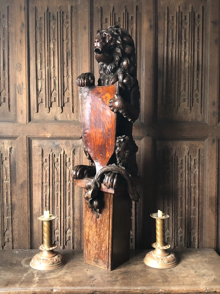 A Magnificent Carved Oak Newel Post Of Impressive Proportions SOLD