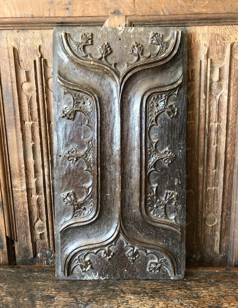 16th Century English Carved Oak Parchemin Panel.