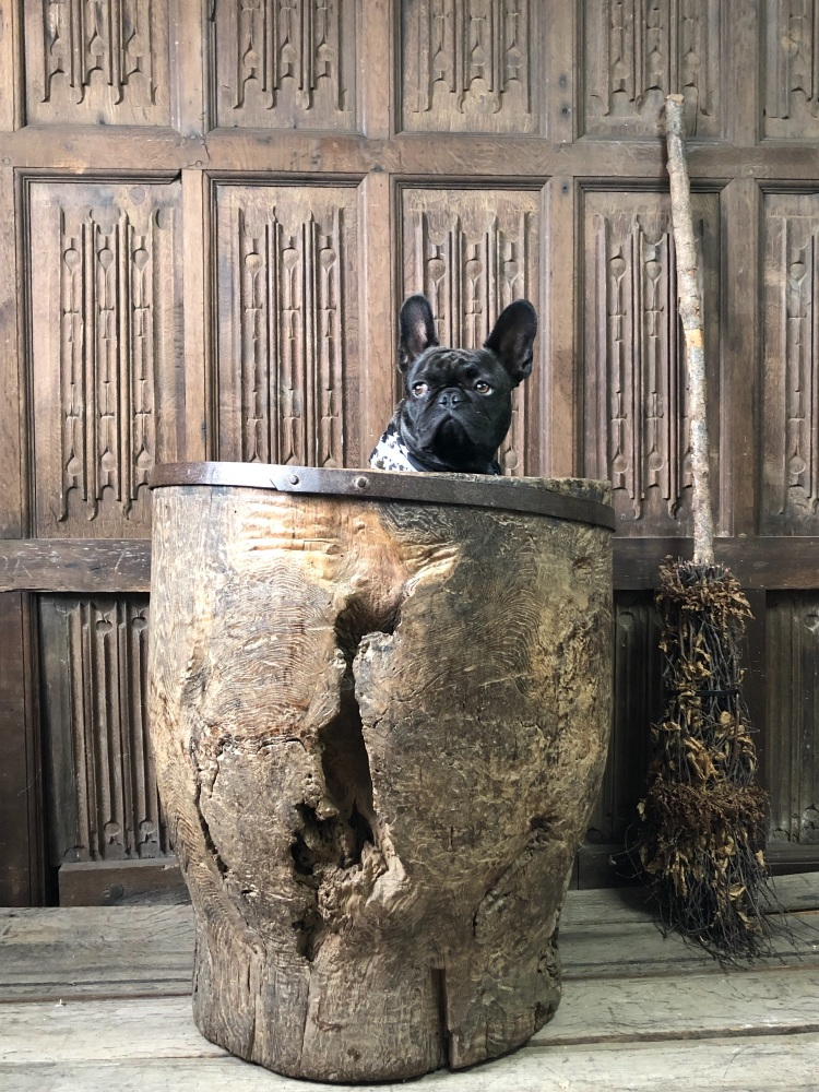 A 17th Century Monastic Dug Out Mortar With Iron Banded Rim Of Large Propor
